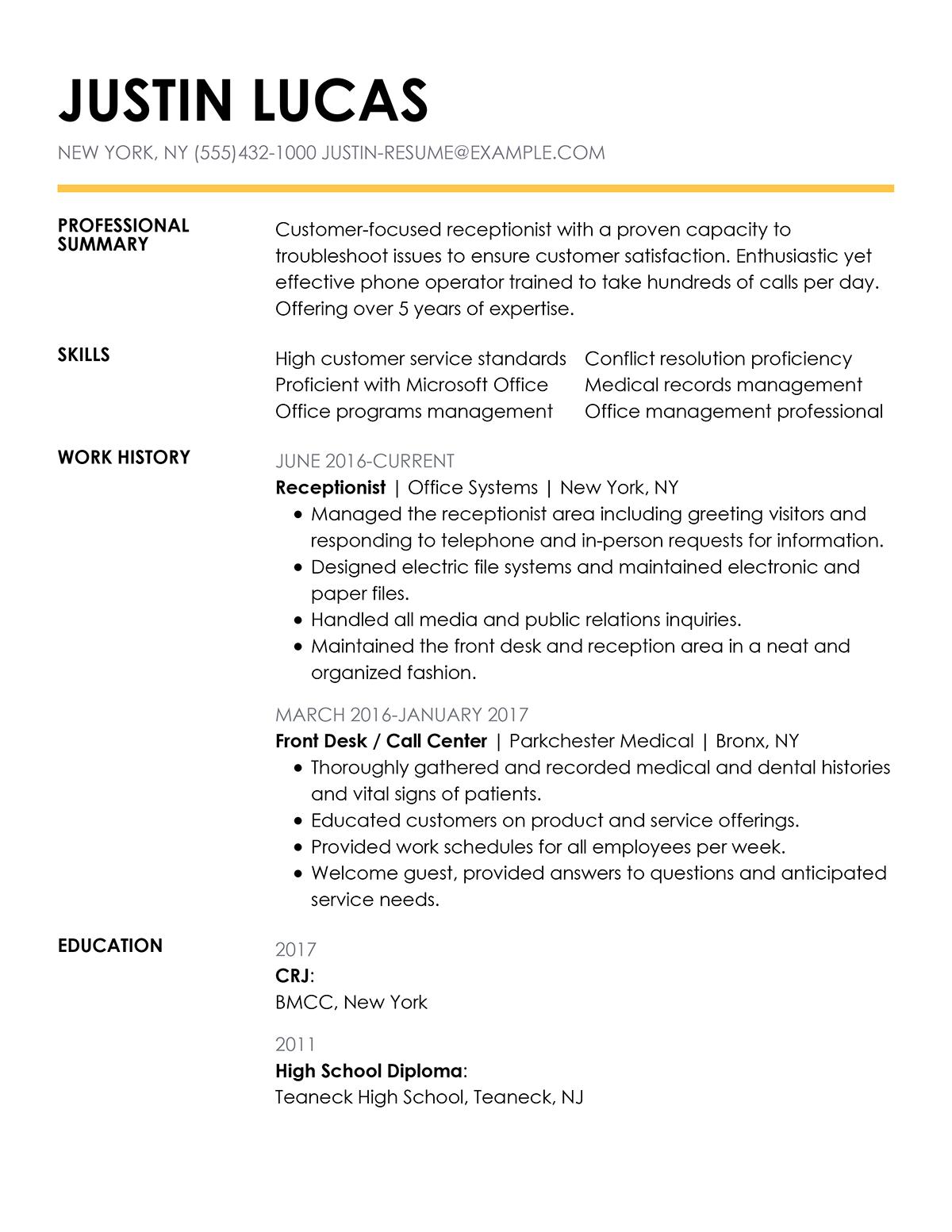 shine resume samples
