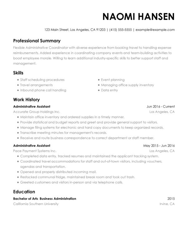 resume sample experienced administrative assistant