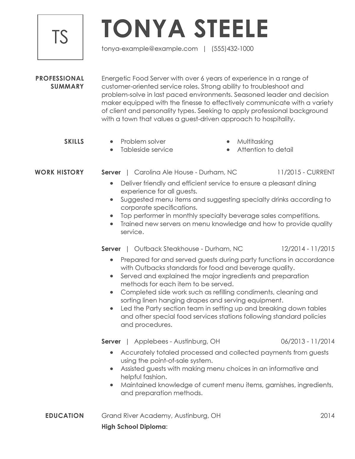 how to describe a serving job on a resume examples
