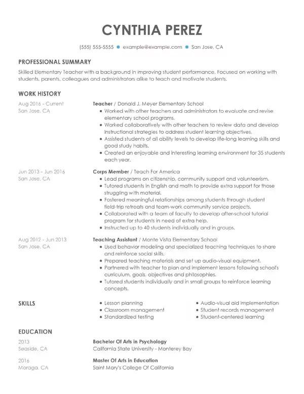 resume header student example