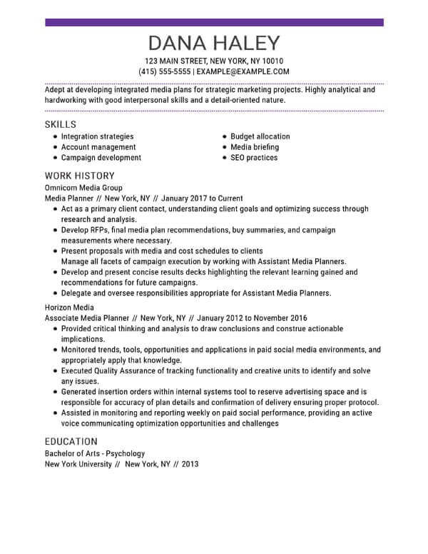 marketing resume skills section