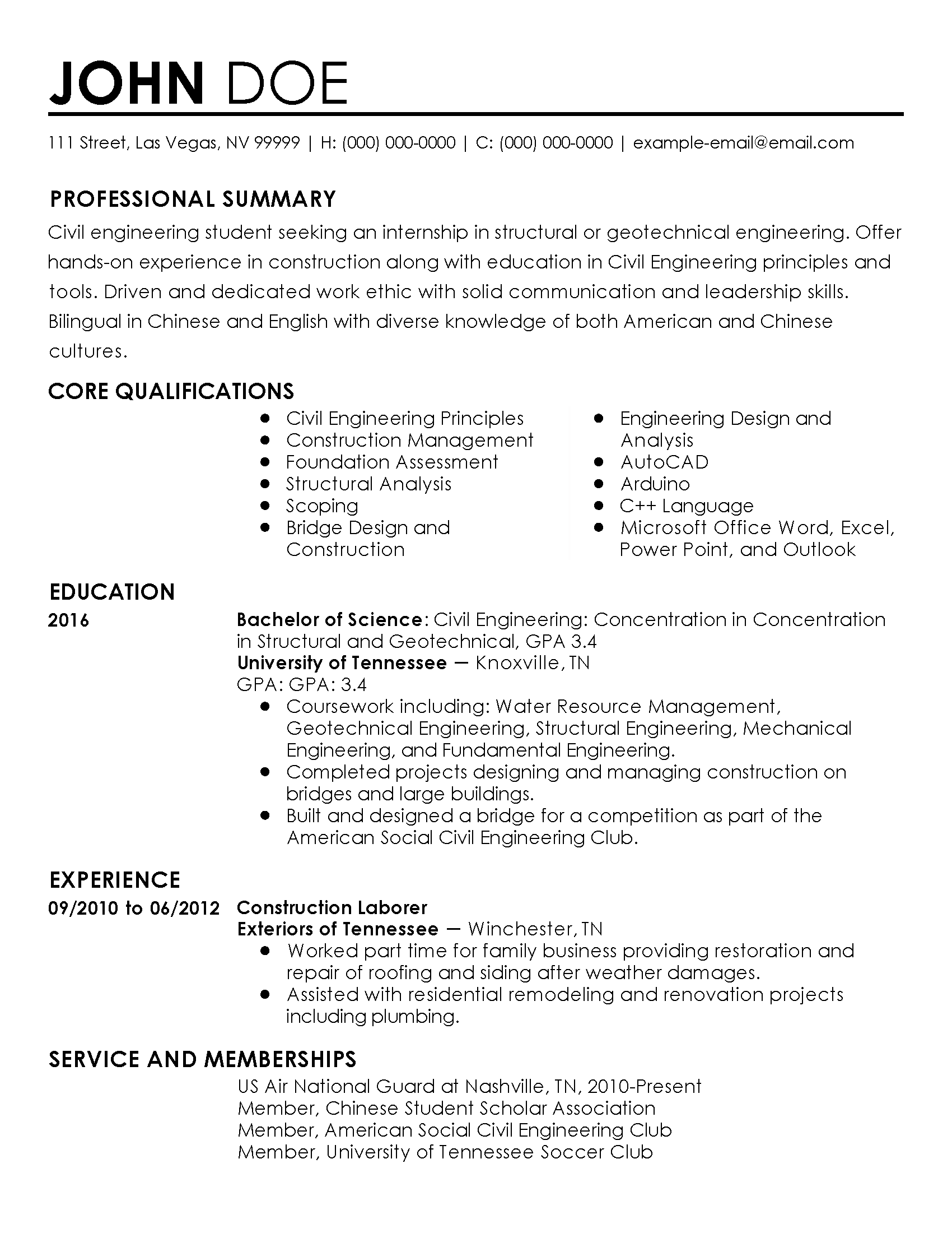 cv for engineering internship