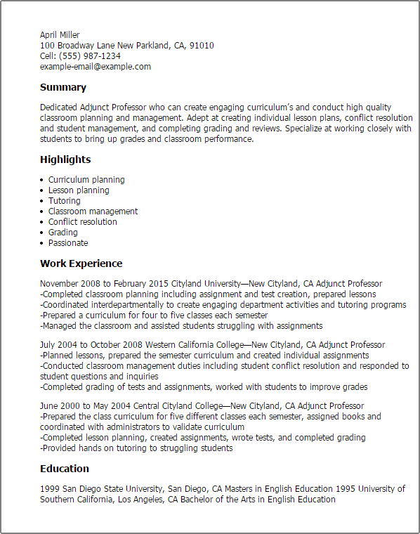 sample of a faculty adjunct resume