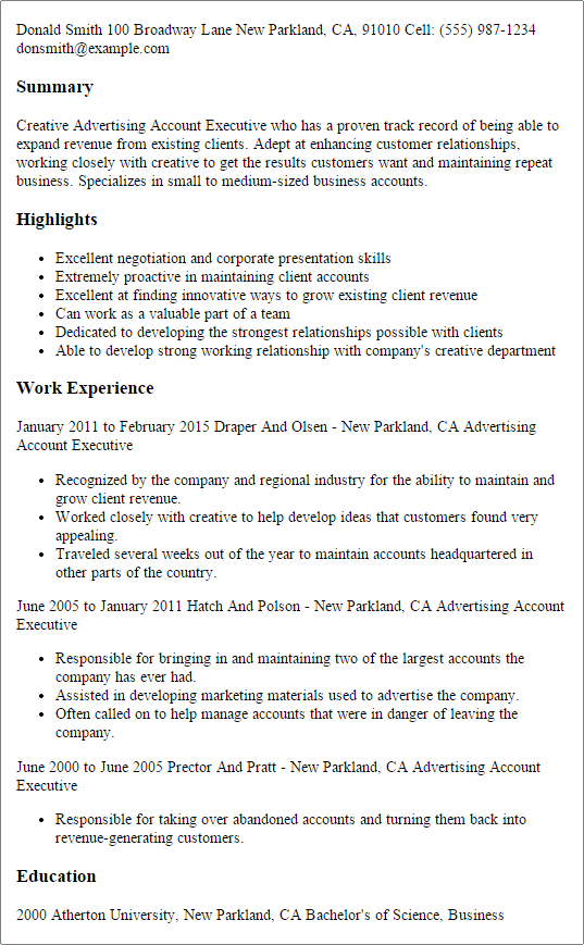 sample advertising account manager resume