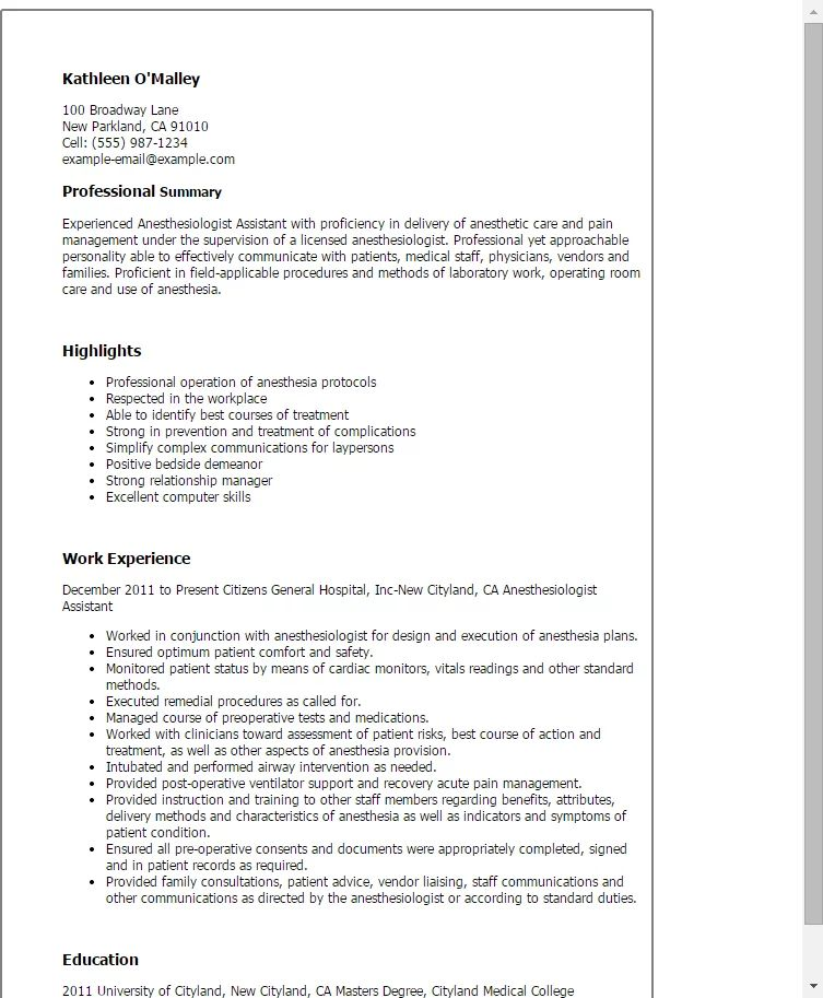 anesthesiologist resume