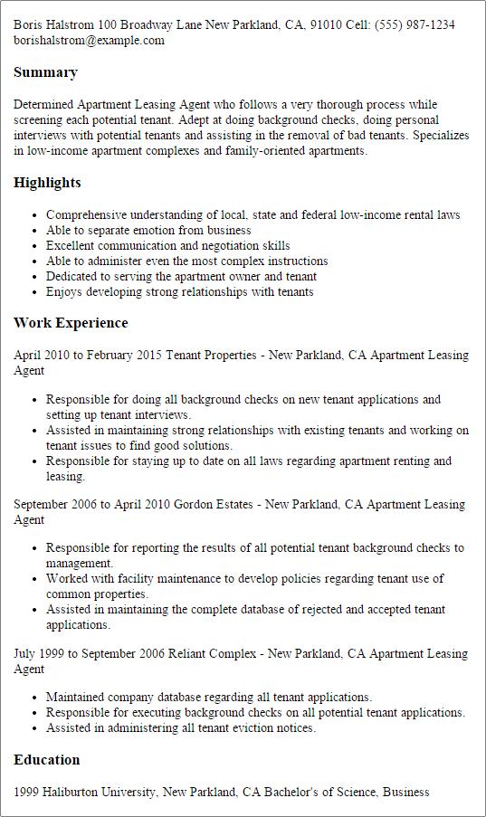 leasing agent resume samples