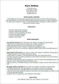 Arbitration Representative Resume Template  Best Design