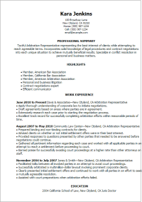 Arbitration Representative Resume Template  Best Design ...