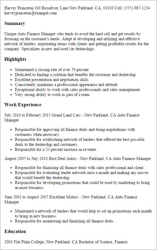 automotive finance manager resume example