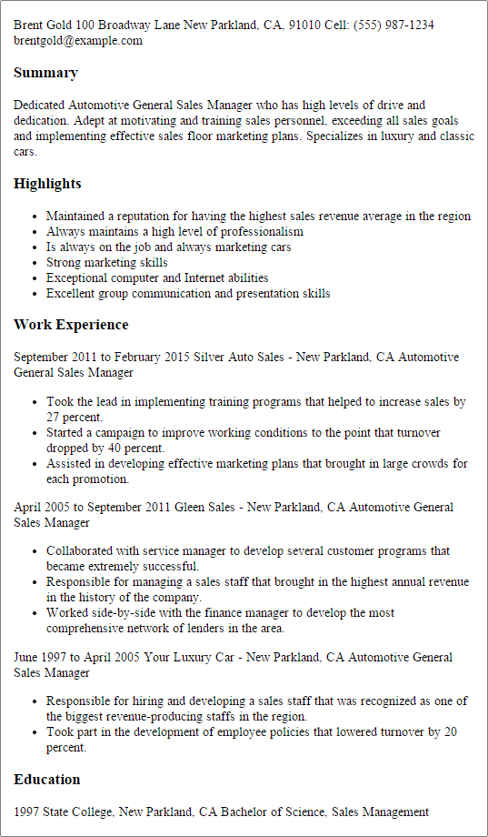 work experience as a parts sales manager resume sample