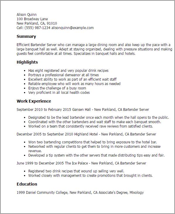 resume examples bartender server