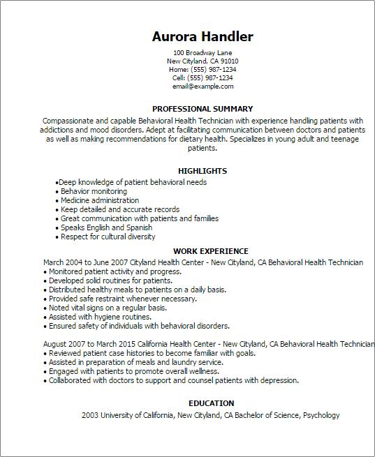 resume templates behavioral health