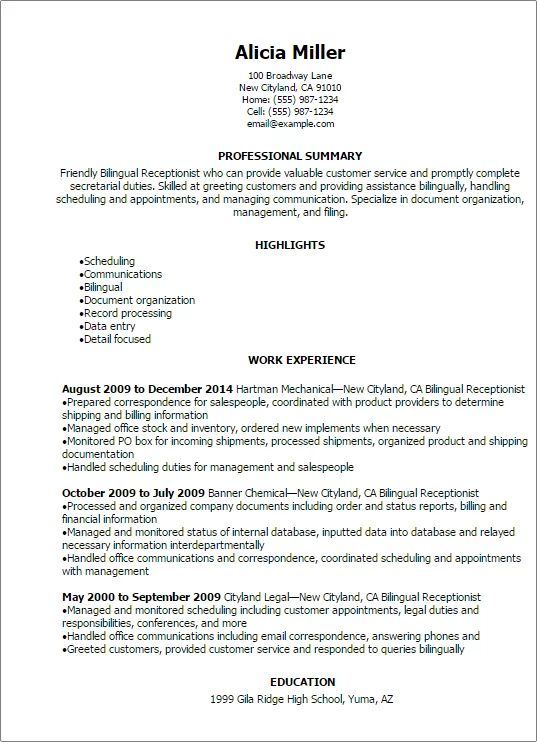 medical receptionist skills resume examples