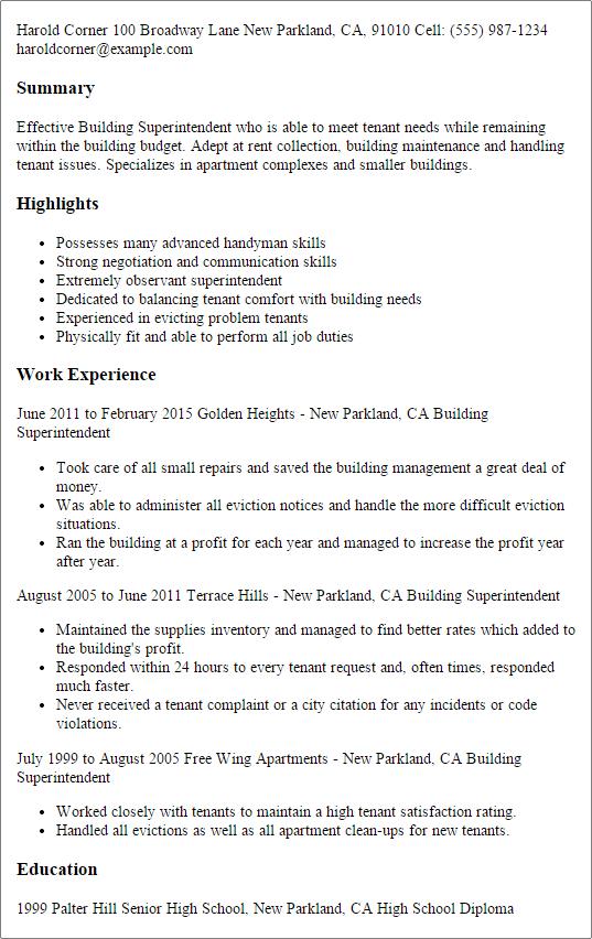 sample resume construction superintendent