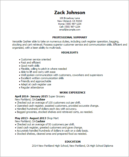 cashier resume highlights