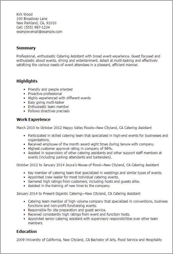 catering server resume samples