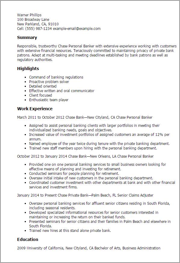 personal banker description for resume