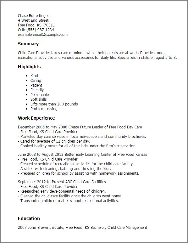 child care resume templates