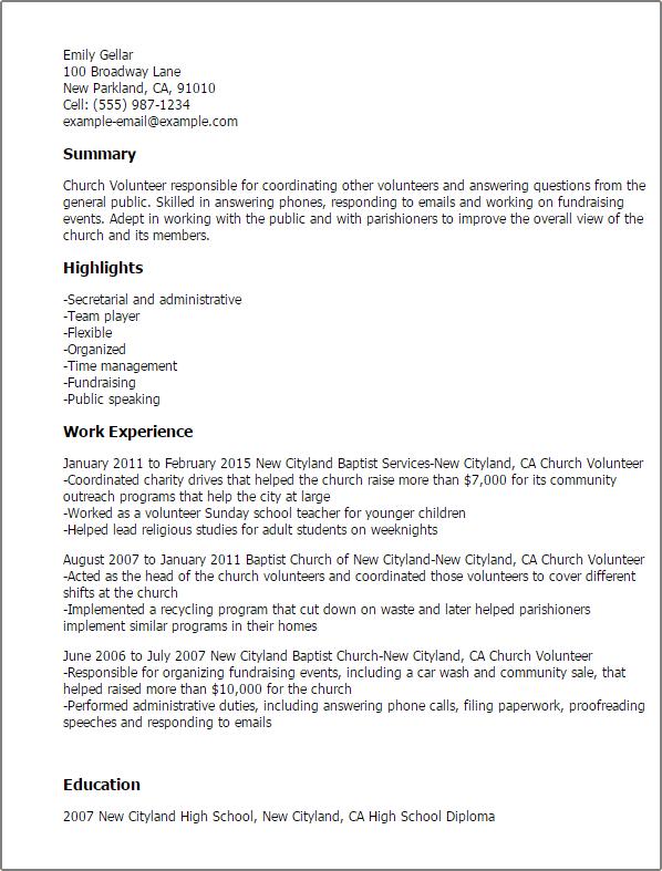 church volunteer resume