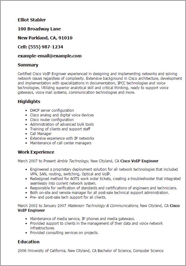 voip resume sample