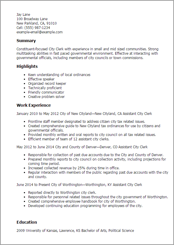 city of chesterfield resume template