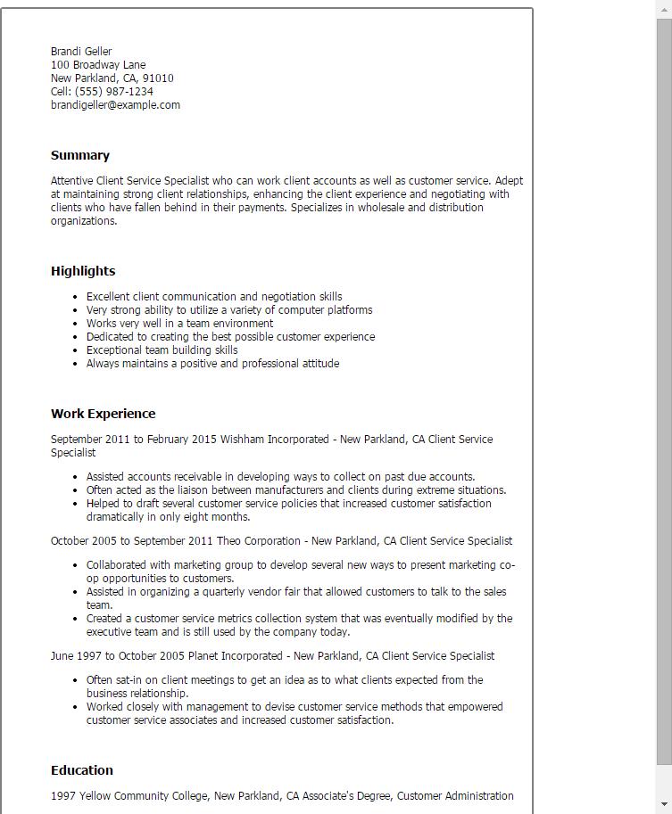 client servicing cv
