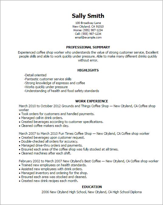 cafe manager resume sample