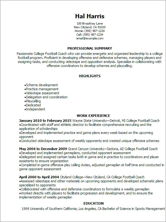 sample resume for high school coaching position