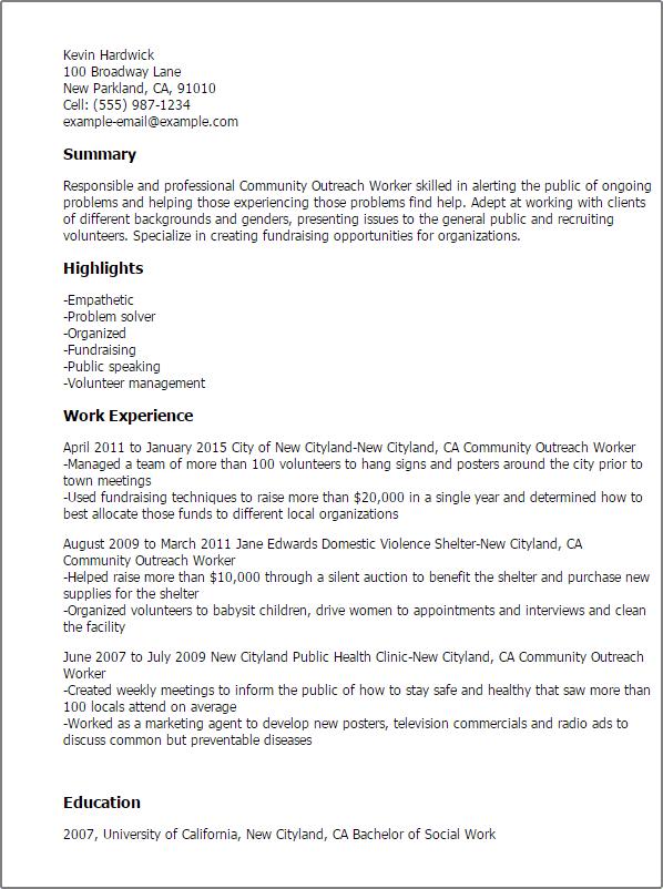 outreach coordinator resume example