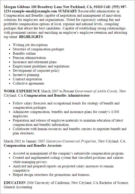 benefits specialist resume templates