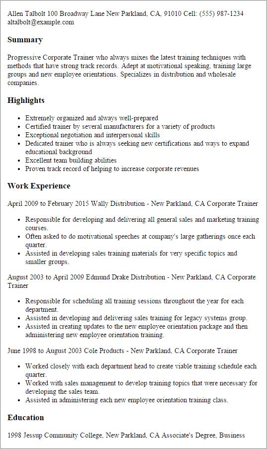 trainer resume skills list