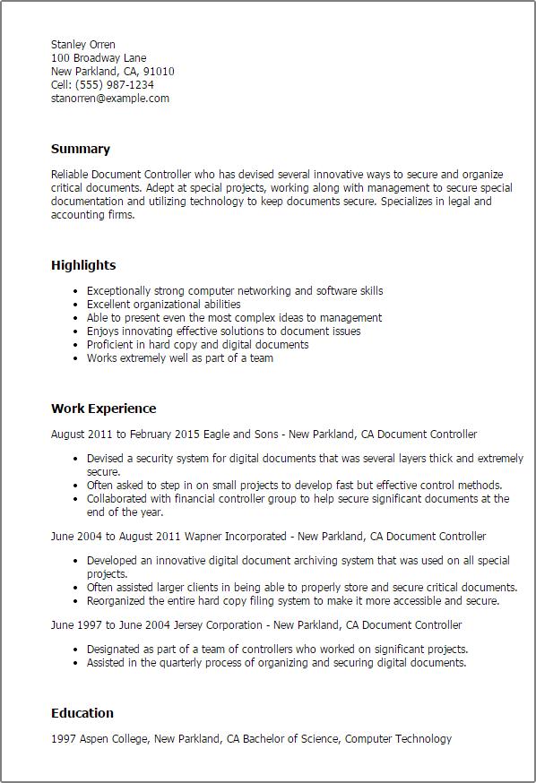 sample controller resume templates
