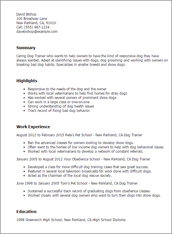animal trainer resume examples