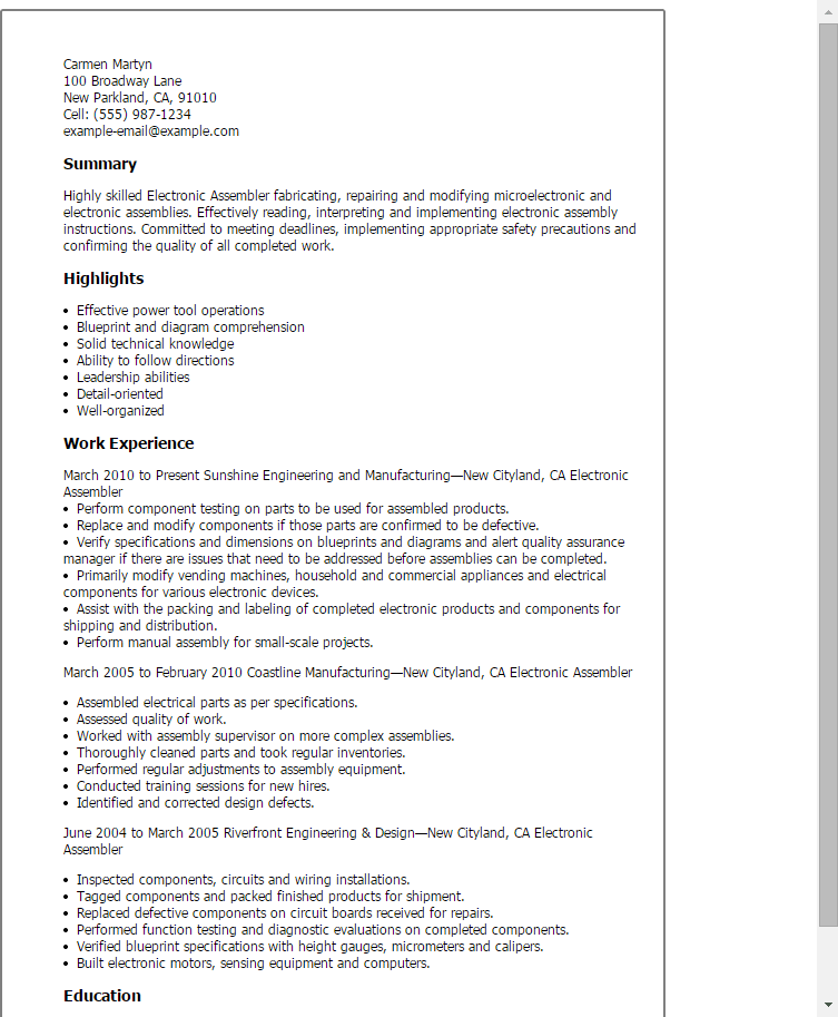 manufacturing assembler resume example
