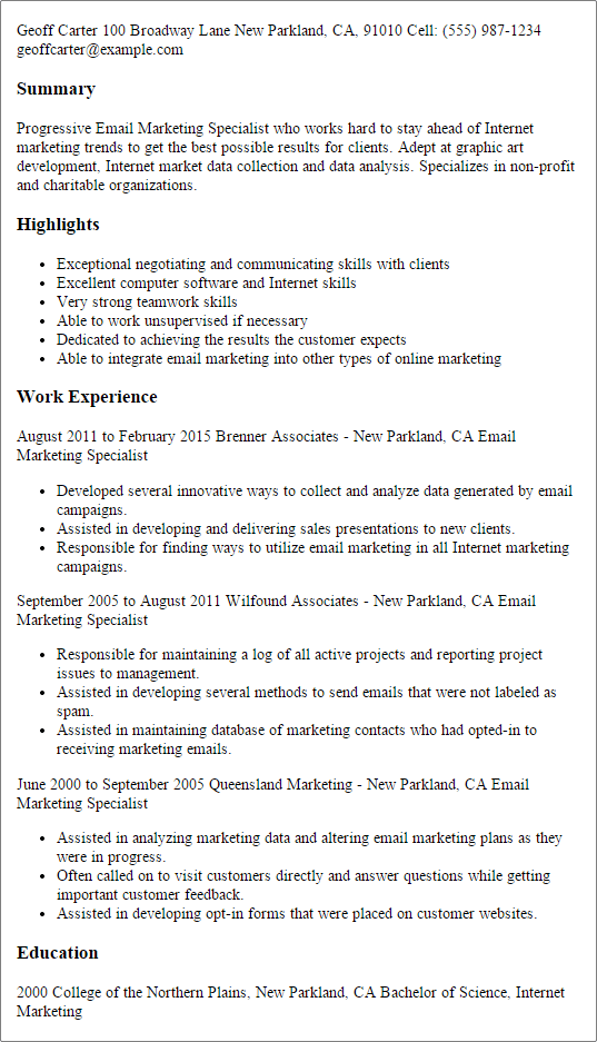 marketing professional summary resume sample