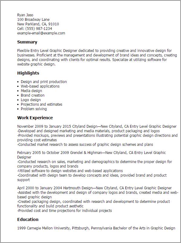 resume designer summary statement