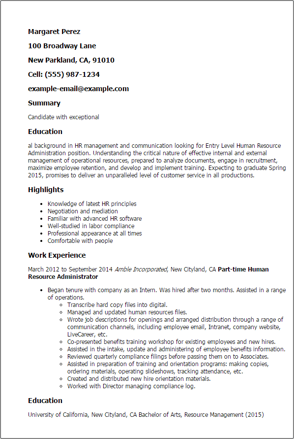 human resources resume templates entry level
