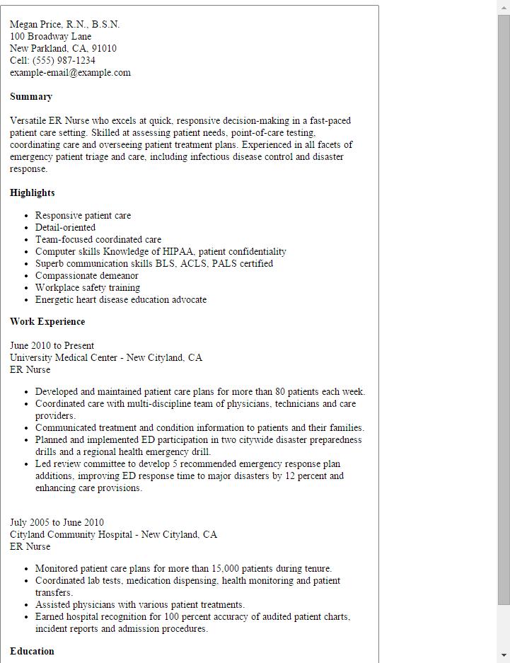 sample nursing resume emergency room