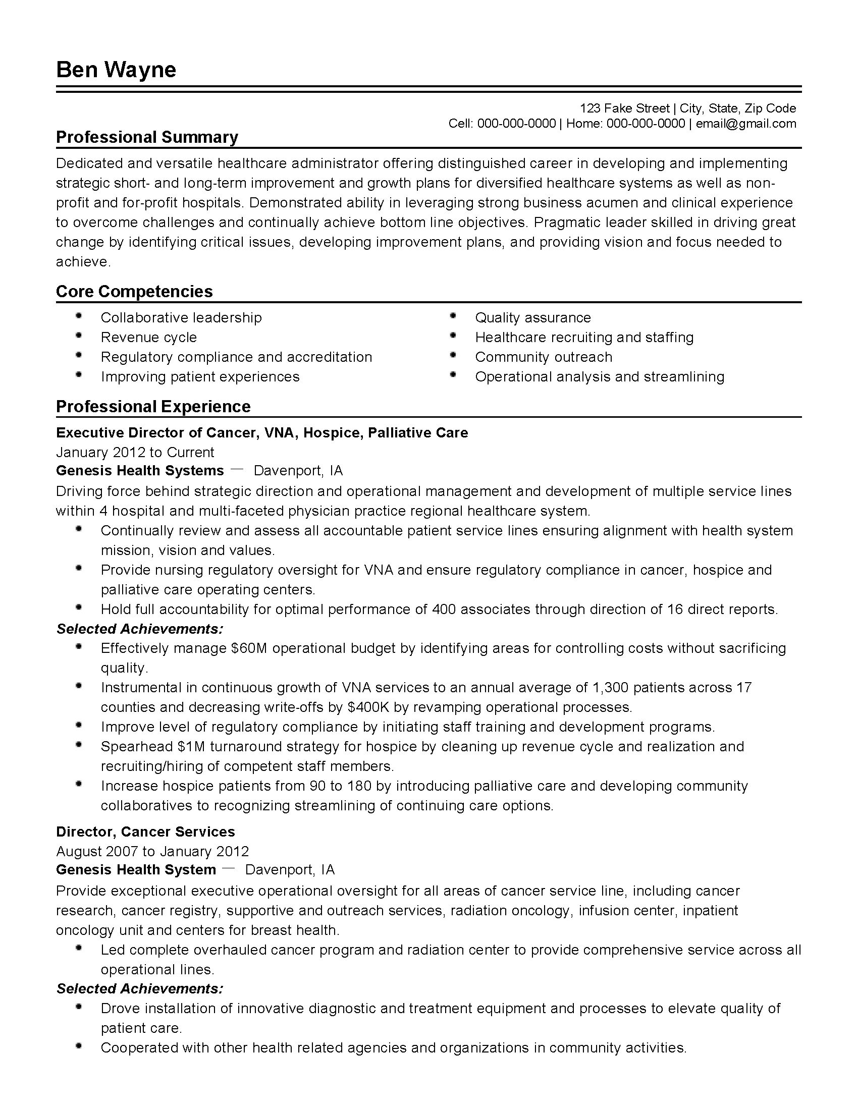 resume samples for healthcare aide