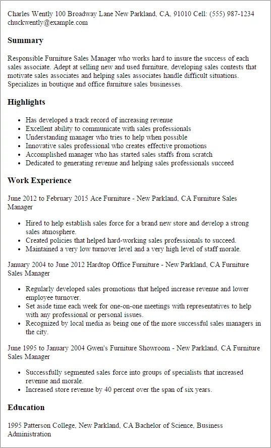 furniture store manager resume examples