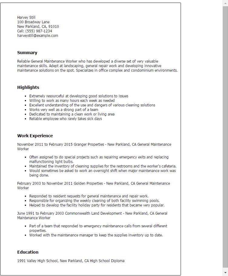 streets and parks maintenance worker job description sample resume