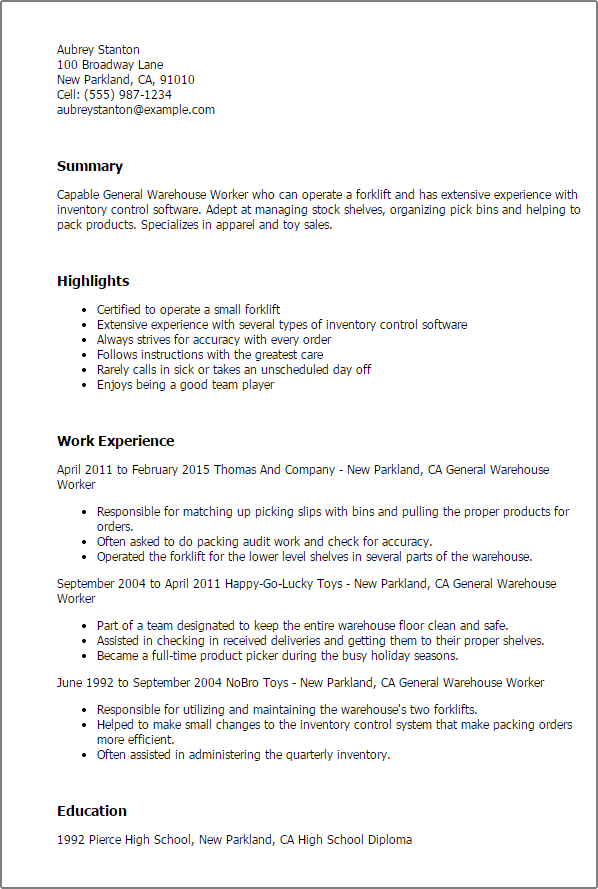 warehouse resume highlights