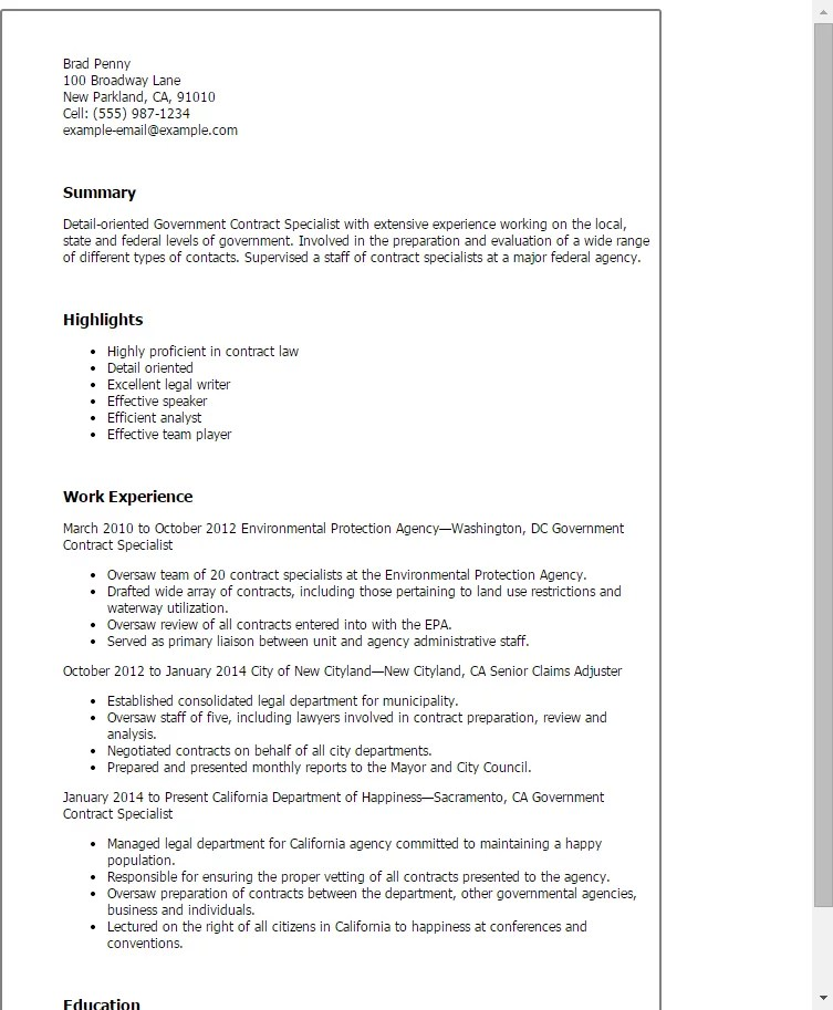 Contract Specialist Cover Letter - Usefulresults