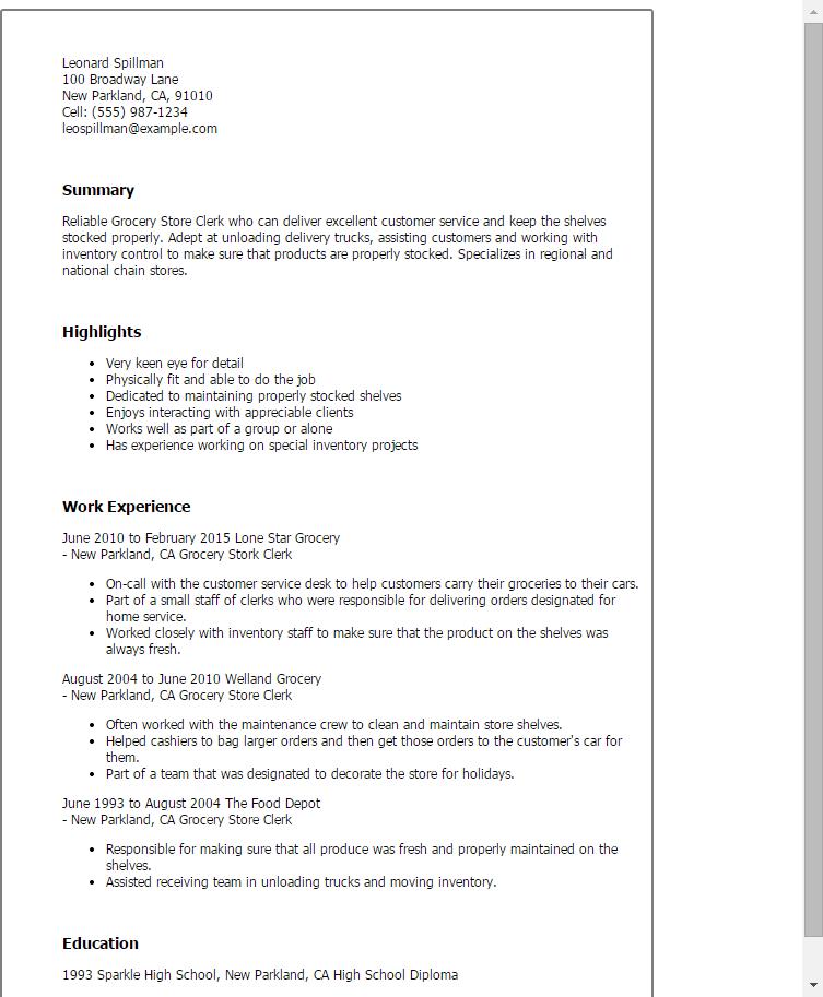 grocery clerk resume summary examples