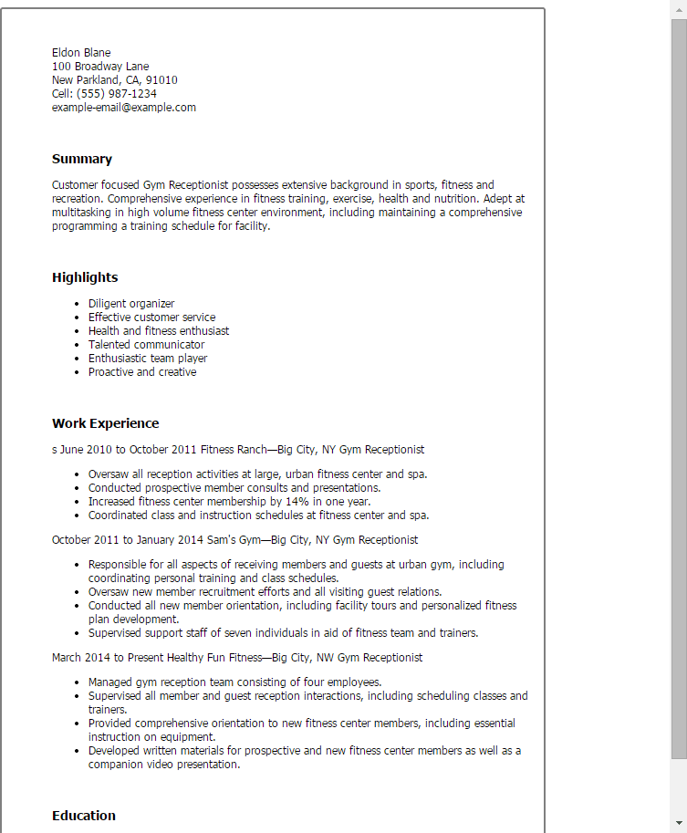 gym receptionist resume examples
