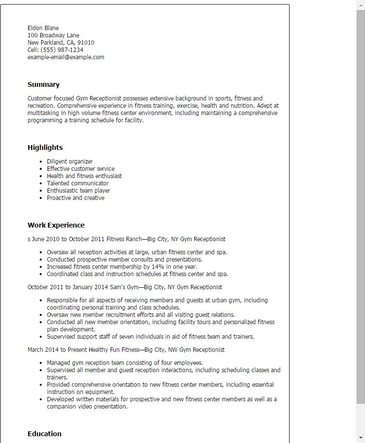 resume objective examples for gym receptionist