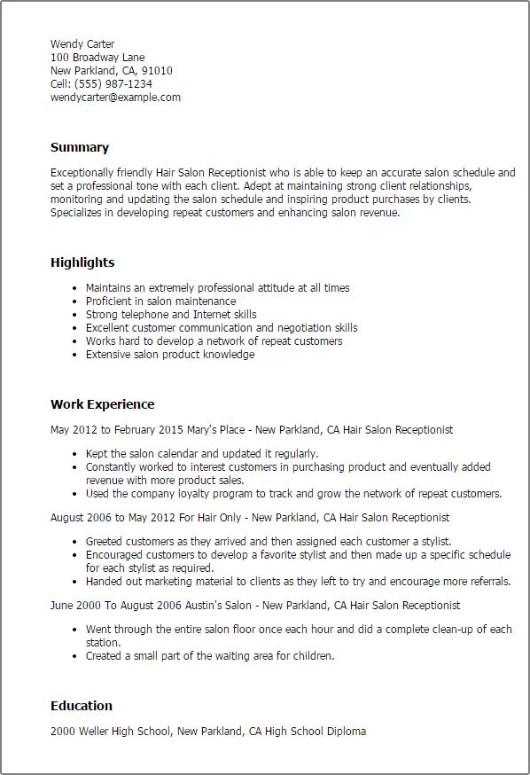 resume examples for hair salon receptionist