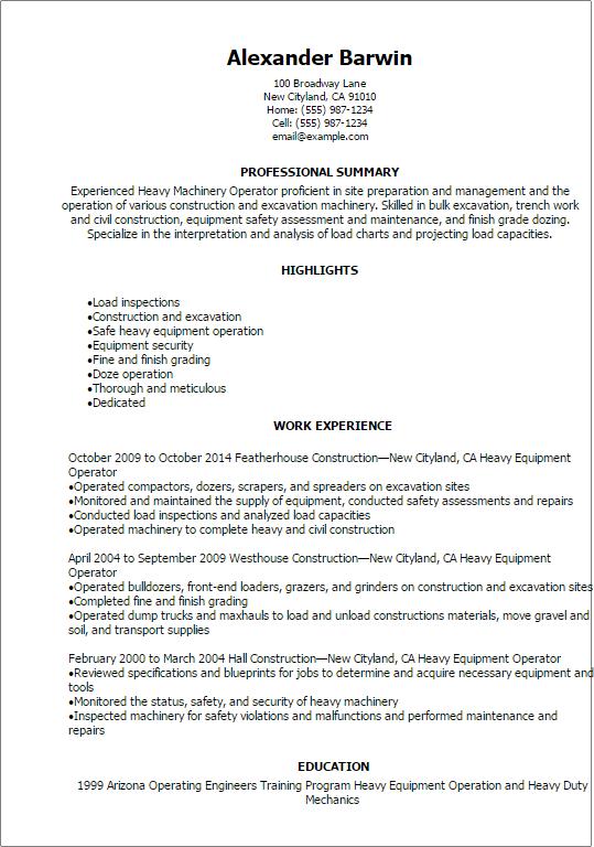 heavy equipment operator resume example