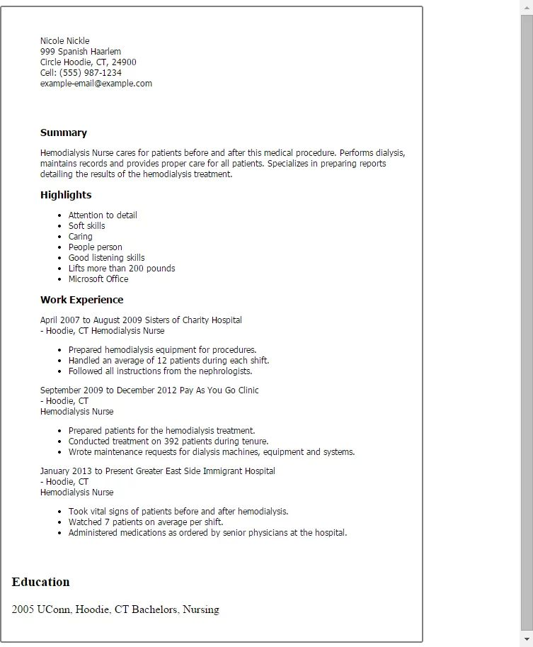 dialysis nurse resume sample