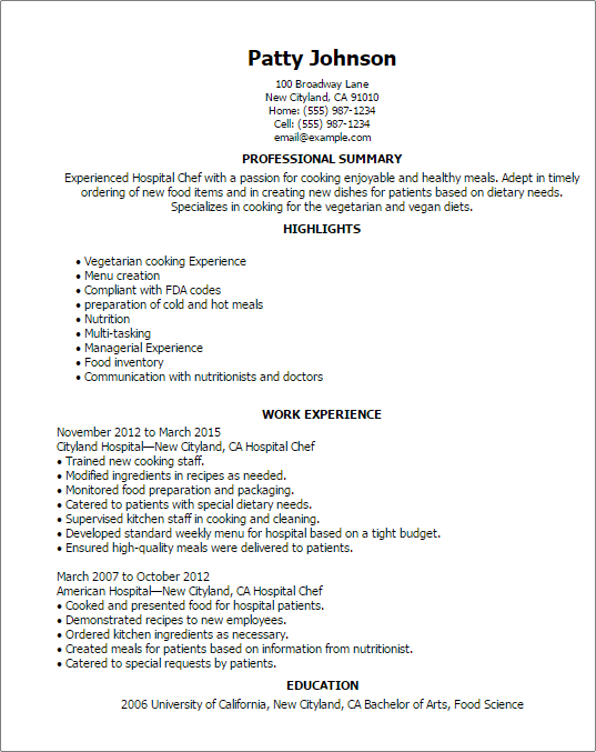 sample resume for cook staff